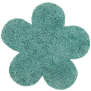 Hand-tufted Layla Teal Flower Rug (2'8 x 2'8)
