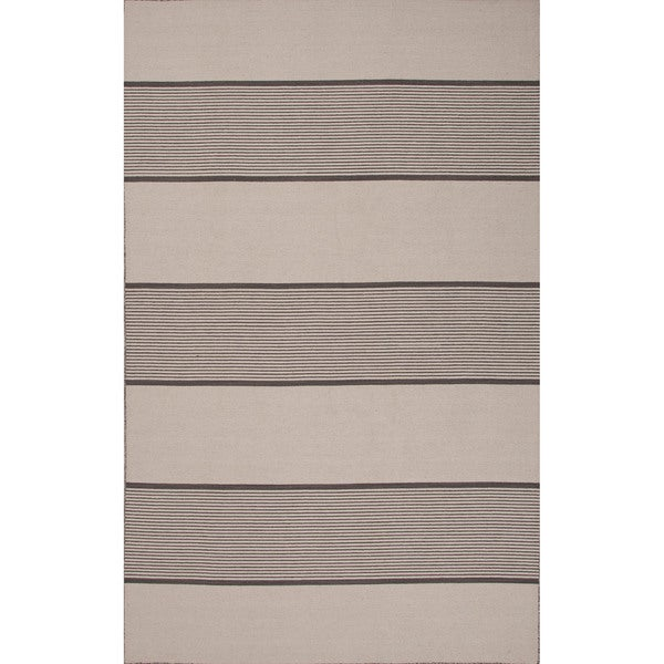 Flat-Weave Stripe Pattern Black\Ivory (2x3) Area Rug