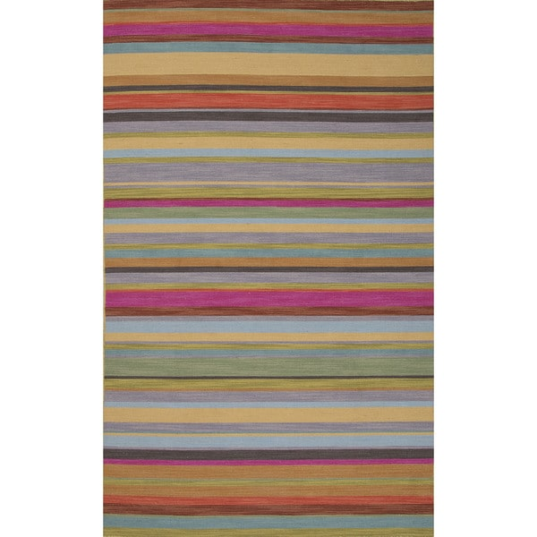 Flat-Weave Stripe Pattern Pink\Purple (2x3) Area Rug