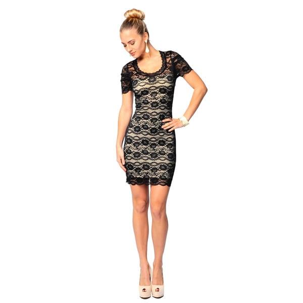 Sara Boo Women's Black Lace Overlay Bodycon Dress (Small)