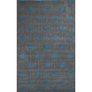 Hand-Tufted Geometric Pattern Grey\Blue (8x10) Area Rug