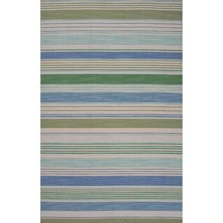 Flat-Weave Stripe Pattern Blue\Blue (8x10) Area Rug