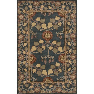 Hand-Tufted Arts And Craft Pattern Blue\Blue (9x12) Area Rug