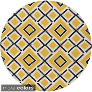 Jill Rosenwald Hand-Woven Harlow Geometric Wool Rug (8' Round)