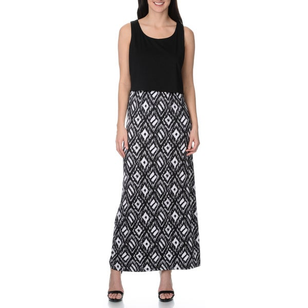 Lennie for Nina Leonard Women's black/white tribal print maxi dress