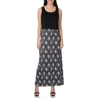 Lennie for Nina Leonard Women's black/white tribal print maxi dress