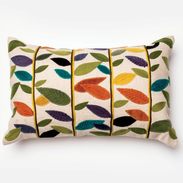 Furniture of America Multi-color Leaf Print Decorative Throw Pillow