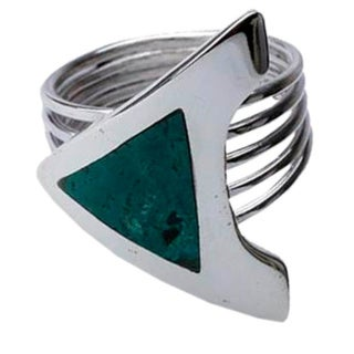 Handcrafted Silver 'Peace' Chrysocolla Ring (Peru)