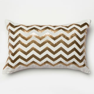 Furniture of America Luxury Glam Chevron Accent Throw Pillow