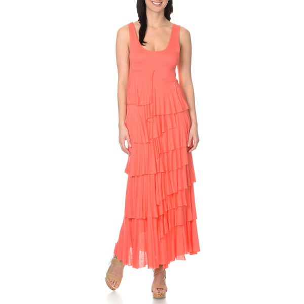 Chelsea & Theodore Asymmetrical Tiered Maxi Dress