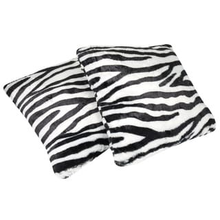 Faux Fur Zebra Print 18-inch Throw Pillows (set of 2)