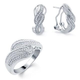 Rhodium-plated 1/10ct TDW Diamond Ring and Earrings Set (I-J, I2-I3)