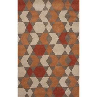 Hand-Tufted Geometric Pattern Orange\Brown (5x8) Area Rug