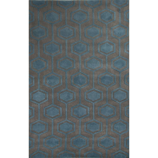 Hand-Tufted Geometric Pattern Grey\Blue (5x8) Area Rug