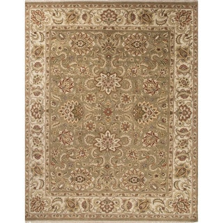 Hand-Knotted Oriental Pattern Green\Yellow (4x6) Area Rug