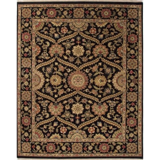 Hand-Knotted Oriental Pattern Black\Black (4x6) Area Rug