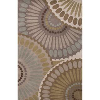 Hand-Tufted Geometric Pattern Grey\Ivory (8x10) Area Rug