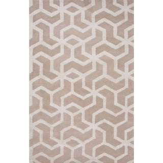 Hand-Tufted Geometric Pattern Ivory\Ivory (9x12) Area Rug