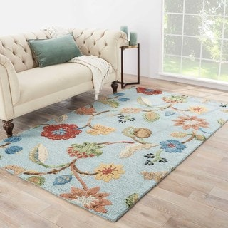Hand-Tufted Floral Pattern Blue\Yellow (9x12) Area Rug