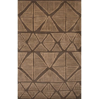 Hand-Tufted Tribal Pattern Brown\Brown (8x11) Area Rug