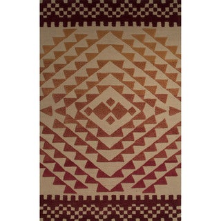 Hand-Tufted Tribal Pattern Orange\Red (8x11) Area Rug