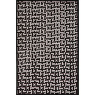 Machine Made Geometric Pattern Ivory\Black (7.6x9.6) Area Rug