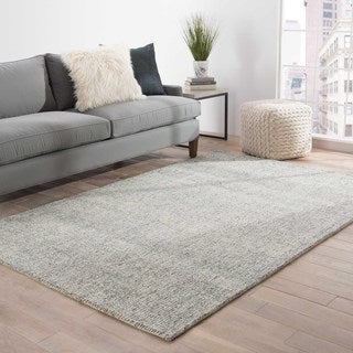 Hand-Tufted Solid Pattern Ivory\Blue (8x10) Area Rug