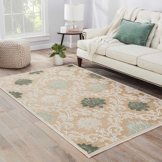 Machine Made Floral Pattern Ivory\Ivory (9x12) Area Rug