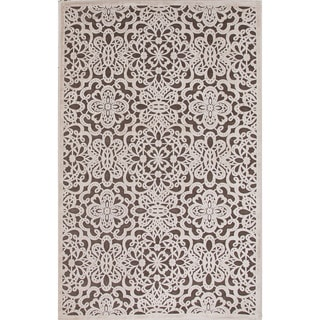 Machine Made Floral Pattern Brown\Ivory (7.6x9.6) Area Rug