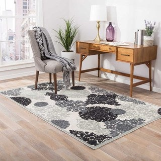 Machine Made Floral Pattern Ivory\Gray (7.6x9.6) Area Rug