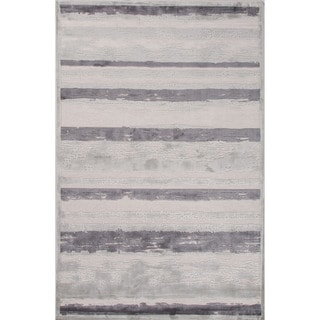 Machine Made Stripe Pattern Ivory\Gray (9x12) Area Rug