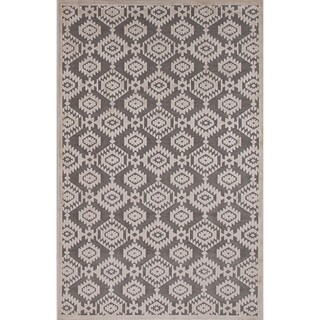 Machine Made Tribal Pattern Grey\Ivory (7.6x9.6) Area Rug