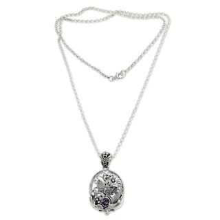 Sterling Silver 'Frangipani Butterfly' Amethyst Necklace (Indonesia)