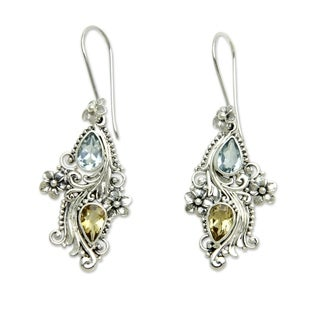 Plumeria Dew Handmade Fashion Vintage Flower Sterling Silver Blue Topaz Yellow Citrine Gemstone Jewelry Earrings (Indonesia)