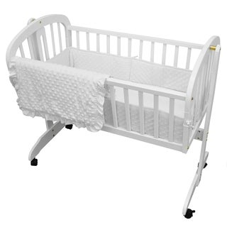 American Baby Company Heavenly Soft White Minky Dot 3-piece Cradle Set