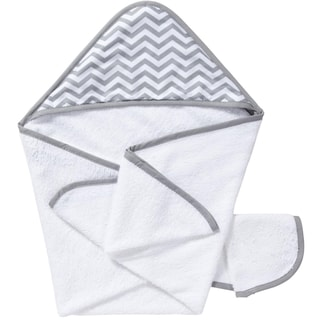 American Baby Company Organic Cotton Hooded White/Grey Zig Zag Towel Set