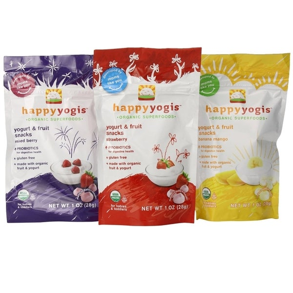 Organic Baby Food Happy Yogis Yogurt Snacks 1-ounce Pouch (Pack of 3)