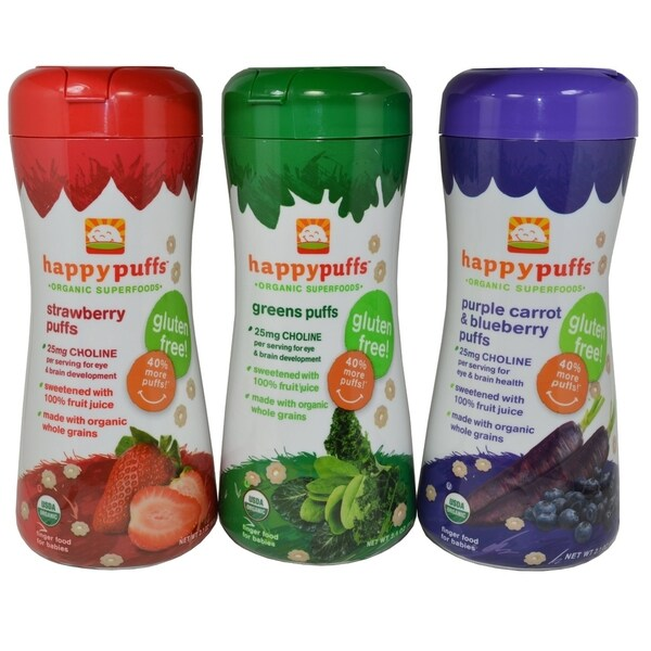 Happy Puffs Organic Superfoods Reds Greens Purples Variety (Pack of 3)