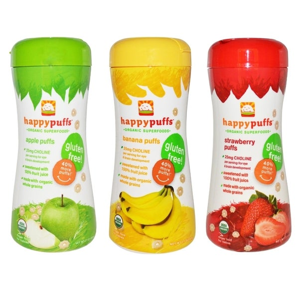 Happy Baby Organic Puffs 2.1-ounce Apple, Banana & Strawberry Sampler (Pack of 3)