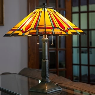 """River of Goods 23.5"""" H Stained Glass 2-light Mission Style Table Lamp"""
