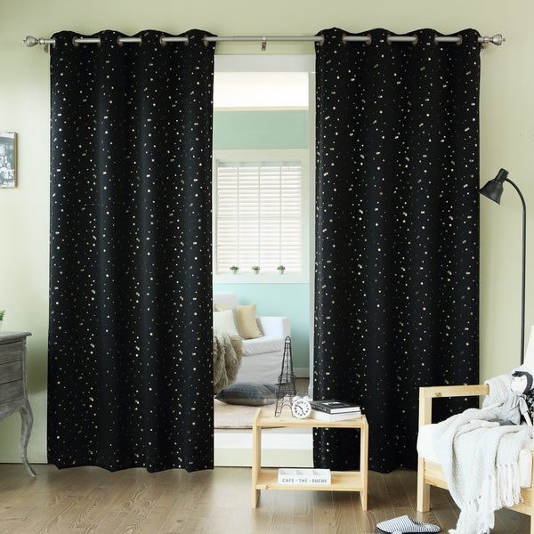 Aurora home twinkling metallic gold star printed thermal for Thermal star windows
