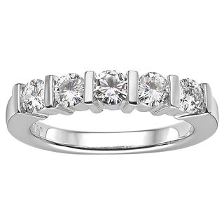Charles and Colvard Sterling Silver Moissanite Round Five-stone Band