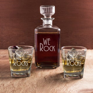 He Rocks Decanter & Glass Set