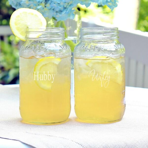 Hubby & Wifey 26oz. Mason Jar Set