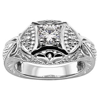 Charles and Colvard Sterling Silver 1/2ct TGW Moissanite Round Statement Ring