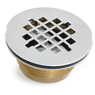Shower Drain, 2 Brass No-Caulk Shower Drain with Stainless Steel Grid Strainer