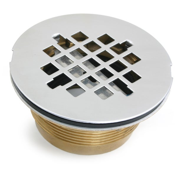 Shower Drain, 2 Brass No-Caulk Shower Drain with Stainless Steel Grid Strainer