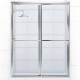 Newport Series 46 in. x 70 in. Framed Sliding Shower Door With Towel Bar in Chrome with Aquatex Glass