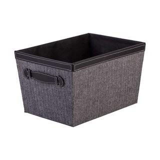 Storage Bin with Handles, Herringbone Black