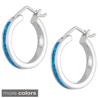 La Preciosa Sterling Silver Created Opal Hoop Earrings